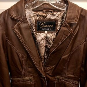 Guess woman's brown faux leather jacket, Size M